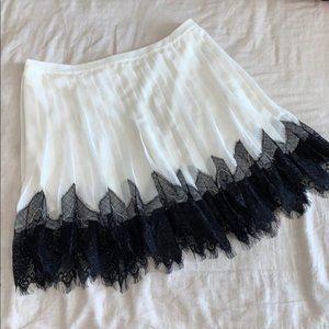 Worthington Cream Accordion Lace Trim Skirt M